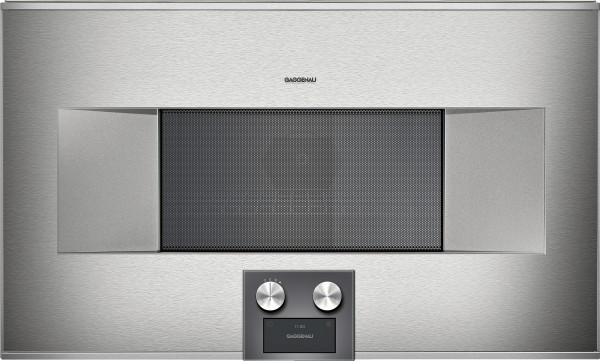 Gaggenau BM484110 Mikrowellen-Backofen Serie 400 Edelstahl-hinterlegte Vollglastür Breite 76 cm Rech
