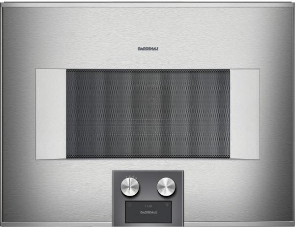 Gaggenau BM454110 Mikrowellen-Backofen Serie 400 Edelstahl-hinterlegte Vollglastür Rechtsanschlag